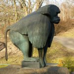 Berlin Tierpark, Gelada baboon (Theropithecus gelada) by Max Esser - 1926, since 2003 on loan from Berlin Zoo