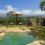 Santa Barbara Zoo, Asiatic elephant enclosure - California hills in background