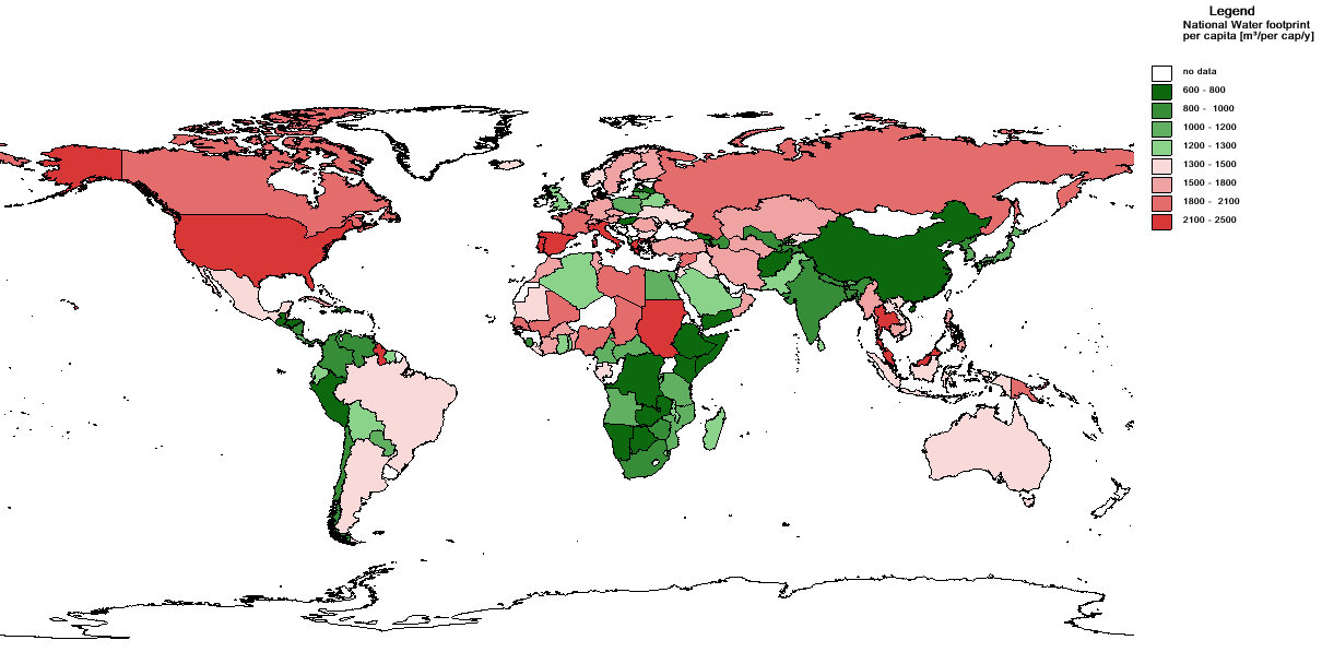 Water footprint per nation