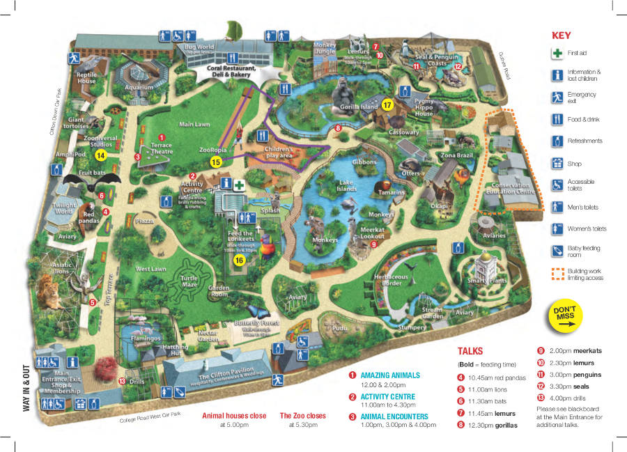 Bristol Zoo map2014