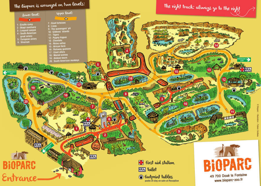 Doué-la-Fontaine Zoo map 2014