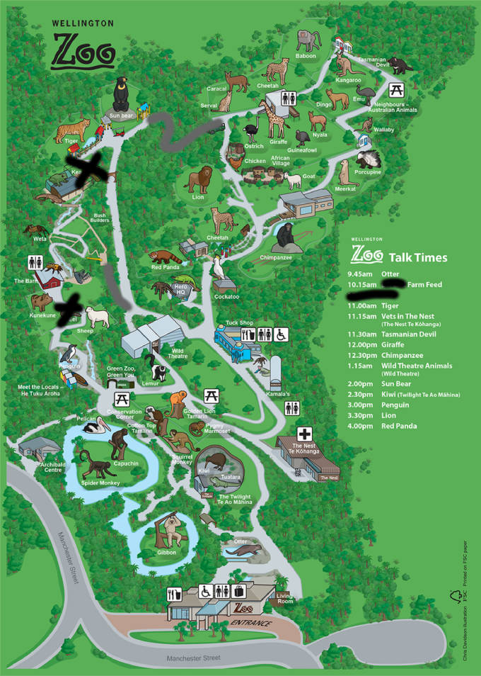Wellington Zoo map 2016
